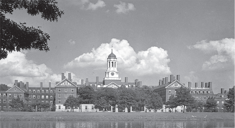 A panoramic view of Harvard University in the 1950s, where many of Trimount House's residents studied.